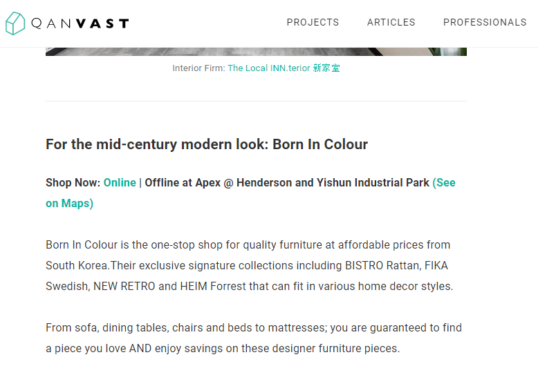 Quanvast Article Feature For Born In Colour Affordable Furniture Stores In Singapore You Have Not Heard Of Yet