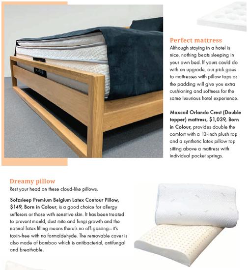 SquareRooms Magazine Singapore May / June 2020 Page 34 Maxcoil Mattress Yasu Bed Frame Sofzsleep Pillow
