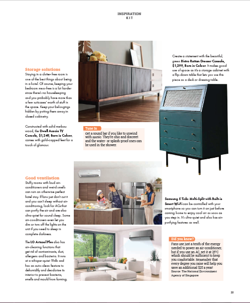 SquareRooms Magazine Singapore May / June 2020 Page 37 Dwell Acacia TV Console Bistro Rattan Dresser Console