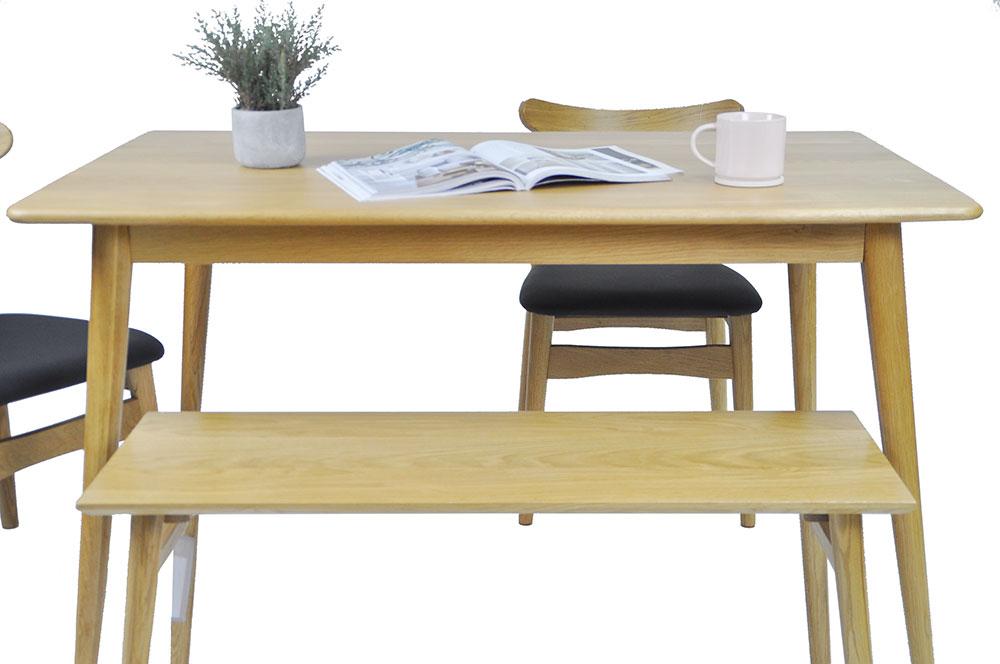 Guri_Oak_Pencil_Leg_Dining_Table_(1300)_Set_3_(Table, 2 Dalmar Chairs & Dagen Bench)_ Online_Furniture_Singapore_Photo_1_by_born_in_colour