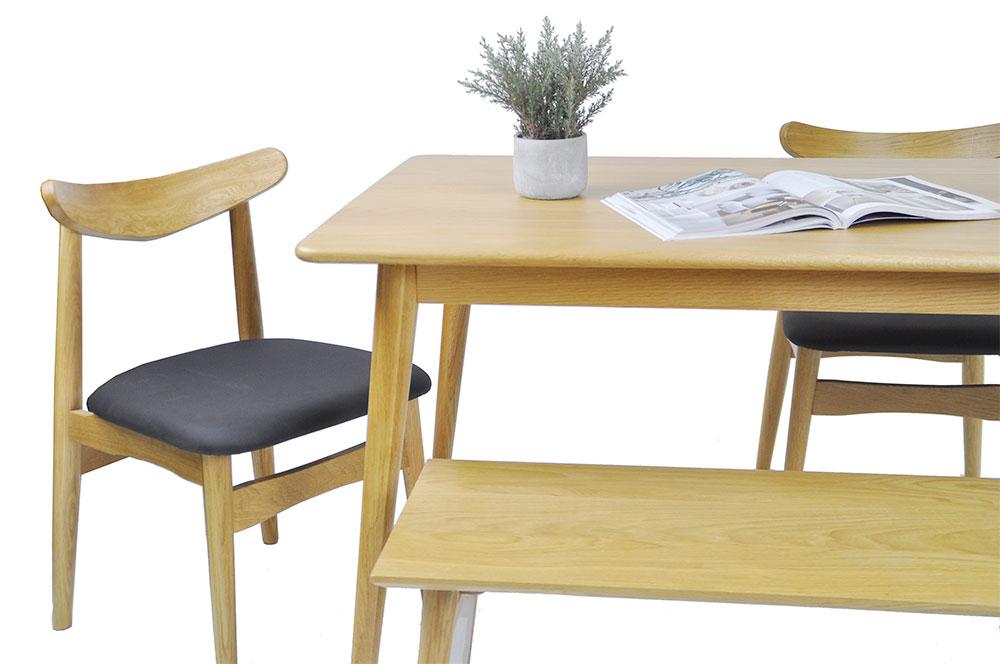 Guri_Oak_Pencil_Leg_Dining_Table_(1300)_Set_3_(Table, 2 Dalmar Chairs & Dagen Bench)_ Online_Furniture_Singapore_Photo_3_by_born_in_colour