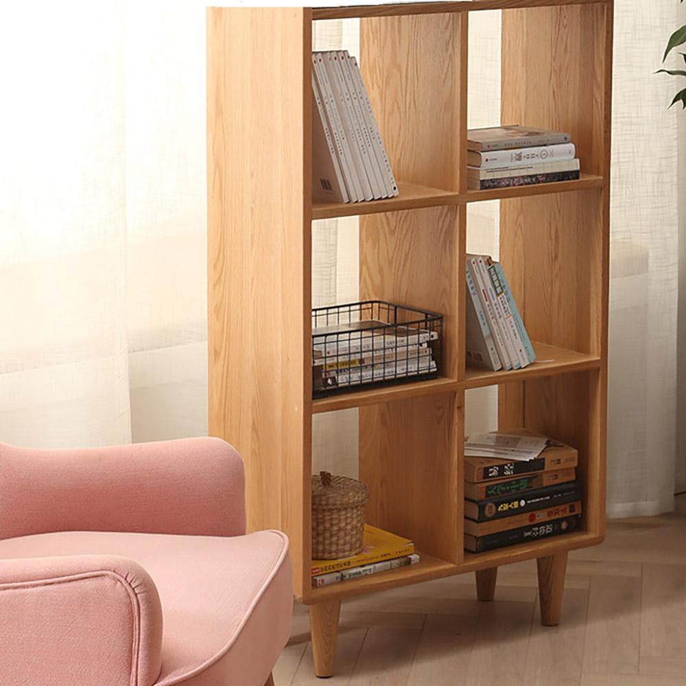Guri_Oak_Scandinavian_Tall_Book_Shelf_6_Box_Live_1