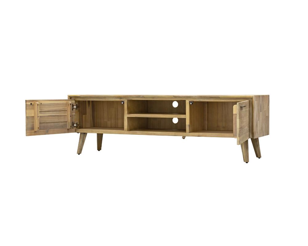 Seth TV console open cabinet