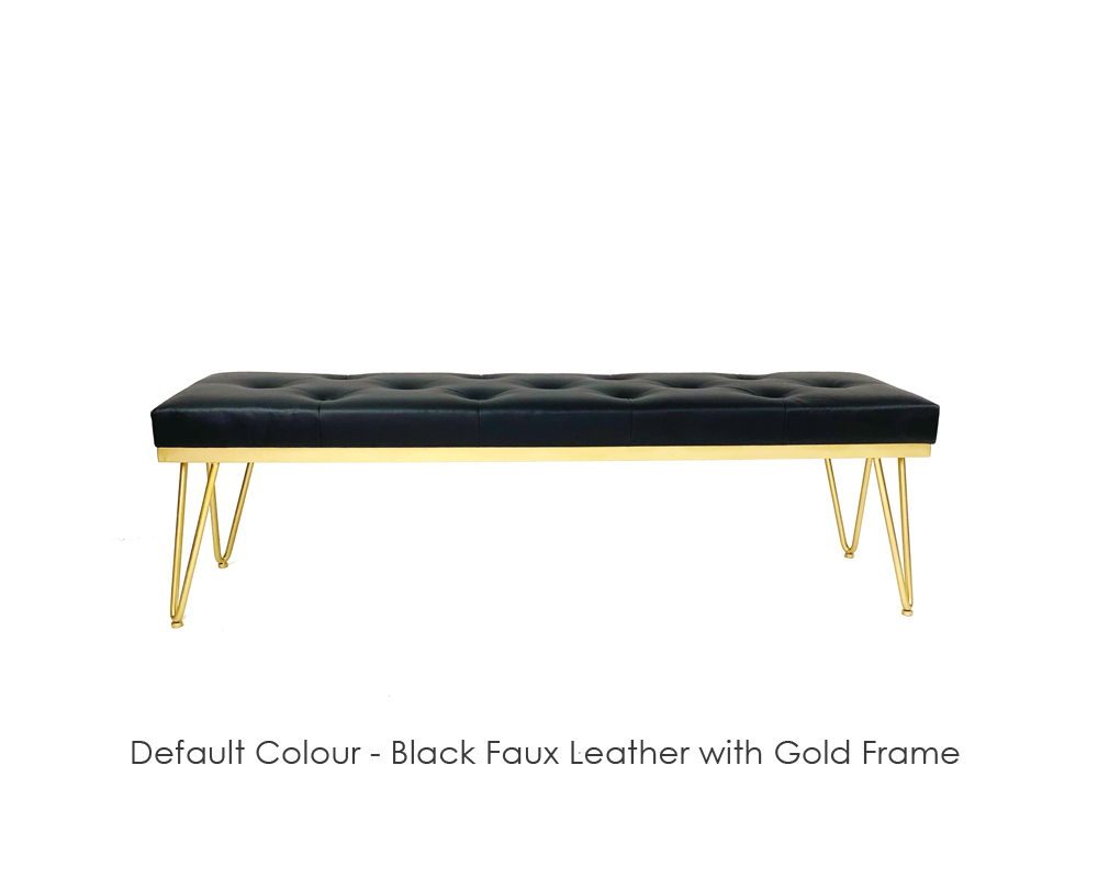 Tavolo-Faux-Leather-Gold-Frame-Bench-Black