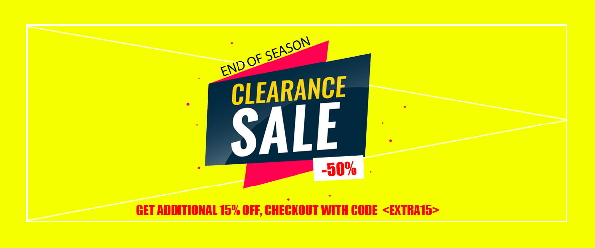 End Of Season Clearance Sale up to 50% off with additional 15% off
